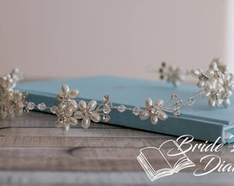 Pearls Bridal Wreath, silver wedding hair vine