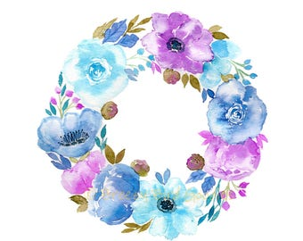 Summer Flower Wreath Print, Watercolor Flowers Print, Purple and Blue Flowers, Girls Room Decor, Watercolor Floral Art