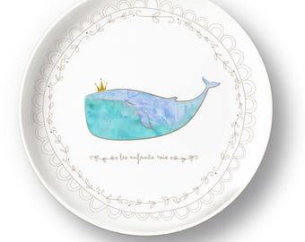 Plate porcelain whale