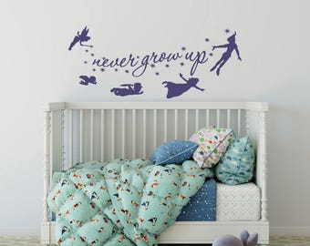 Never Grow Up Quote Peter Pan Wall Decal   Nursery Kids Room Playroom Vinyl Wall  Decal Part 94