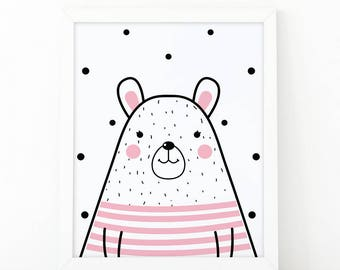 Bear pink, Nursery Wall art, bear printable, nursery decor, kids room decor, Animal print, scandinavian print, Cute bear,nursery animal