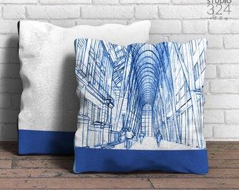Brookfield Place Square Pillow | Blue Prints