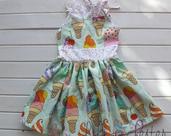 Girls summer dress - baby dress - vintage dress-  Ice Cream Dress - spring dress - birthday dress - baby summer outfit - party dress