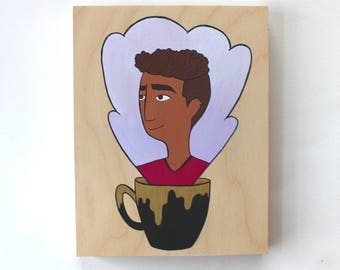 Wood Block Painting - Coffee Head (Coolest Dude)