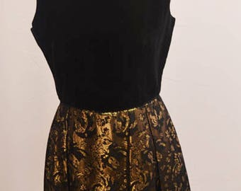 1960's black and gold dress with Velvet top and interfacing on skirt for a fuller and flattering look
