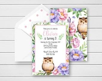 Owl Birthday Invitation, Owl Birthday Invite, 2nd Birthday Invitations, 1st Birthday Invitations, Girls Party Invites, Floral Birthday