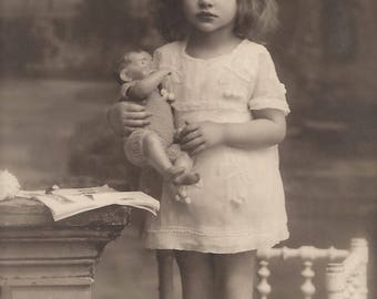 Lovely Little Girl Studio Portrait with Baby Doll… 1923 Original Vintage French Real Photo Postcard RPPC