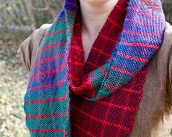 Hot & Cool - Handwoven Scarf - fiery red blue teal - Autumn Rustic Woven eco friendly Winter Warm - Handmade in Kansas, USA