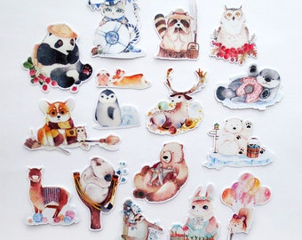 Animals Sticker Pack,  Cute Animals Stickers Set, Die-Cut Planner Sticker, Panda, Deer, Llama, Polar Bear