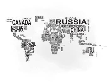 World Map Silhouette Etsy - Map silhouette