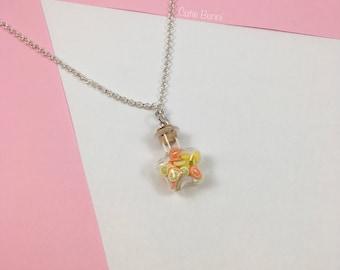 Kawaii Citrus Fruits Star Bottle Pendant Necklace