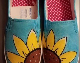 Hand Painted Sunflower Shoes
