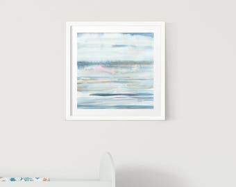 ORIGINAL Seascape Watercolor Abstract painting, landscape abstract watercolor, original abstract painting, Zen art, Meditation art,blue,pink
