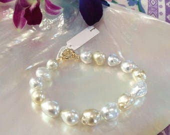 South Sea Champagne Pearl Bracelet with Gold Clasp #2297