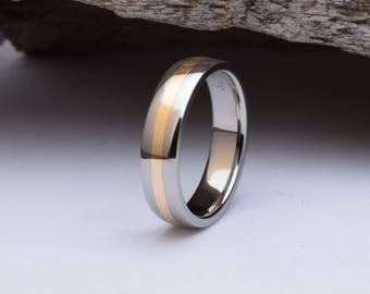 Titanium ring with 18kt red gold inlay, mens titanium wedding ring, womens titanium wedding band with polished finish, mens titanium ring