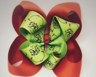 Grinch hair bow, Christmas hair bow, grinch Christmas hair bow, how the grinch stole Christmas, holiday bow, red and green bow