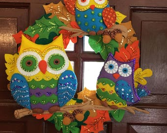 """Bucilla Finished New """"Owl Wreath"""" #86562 Hand Made Heirloom Ready to Hang!"""