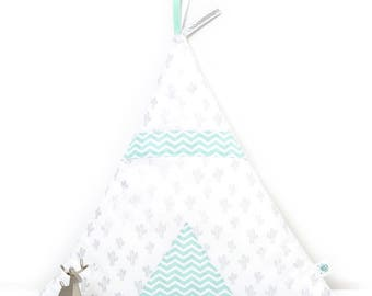 Teepee cactus and mint Chevron pillow, or pink