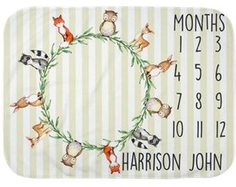 Baby Month Milestone Blanket- Boy or Girl -  Monthly Milestone Blanket- Woodland Animal Blanket - Milestone Blanket
