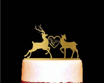 Deer Cake Topper, Deer Wedding Cake Topper, Buck and Doe, Mr and Mrs, Heart, Modern Cake Topper, Wedding Decorations