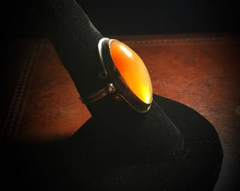 Gorgeous Transluscent Orange Agate and Silver Ring