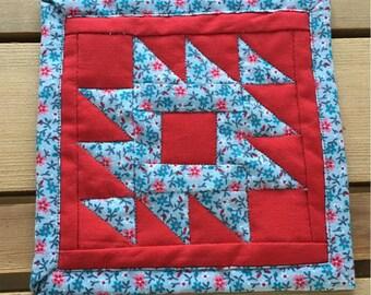 "Rocky Mountain Flowers Mug Rug/Fabric Coaster - 5"""