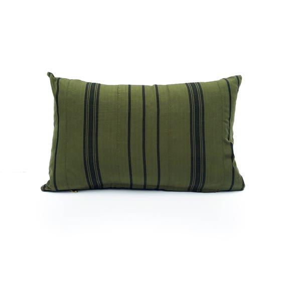 18 X 12 Green & Black Striped Pillow