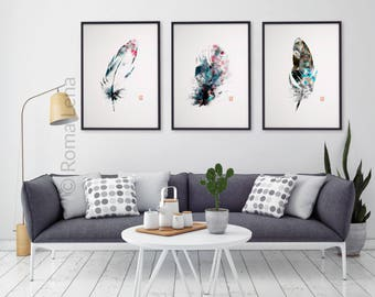 Watercolor Feathers Wall Art Set Of 3 Kitchen Prints Modern Abstract Black White Decor Grey