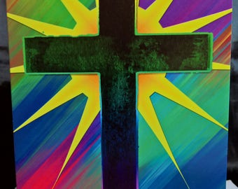 Multicoloured Cross with Halo Star - Greeting Card