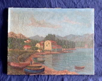 Antique Oil Painting Port Corsica, Italian old painting French