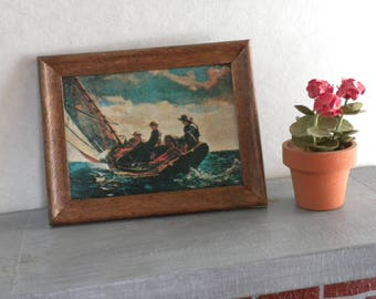 Miniature fixture, Dollhouse picture, sailboat print, in wood frame,1/12th, 1/6th, Barbie scale, Diorama, Fashion Royalty
