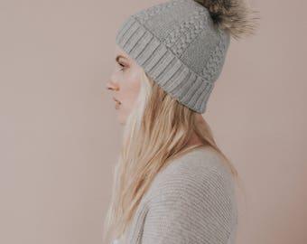 Cashmere Cable Knit Hat//Faux Fur Pom Pom// Grey Hat//Luxury Hat// Grey Colour