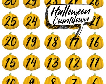 Halloween Pumpkin Countdown Stickers! Perfect for planners, journals, kids crafts, and more!
