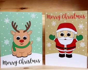 Christmas Cards - Reindeer, Santa, Penguin, Snowman, Set of 4, Set of 8, Set of 12