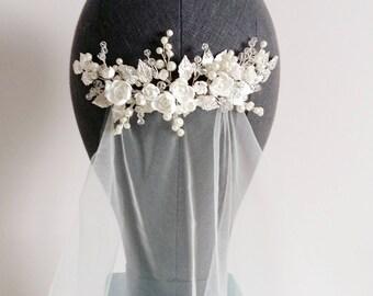 Ivory Pearl Bridal hair comb, Ivory Bridal headpiece, Bridal hair piece, Wedding hair piece, Wedding hair comb, Wedding headpiece