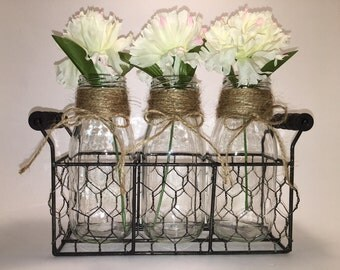 3 Small Milk Bottle Vase Set, Jute Wrapped Necks in a Chicken Wire Basket. Decorative tabletop centerpiece, country farmhouse rustic decor.