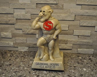 Thrifted Small Statue, Vintage Mini Statute, Gift for Grandpa, Grandpa Gift, Superman Statue, Thrift Store Find, Grandpa You're Super Statue