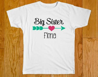 Big Sister Shirt - Personalized with Name - Matching Sister Shirts - Middle Sister Shirt - Little Sister Shirt - Shirts for Sisters