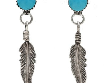 Turquoise Stud Earrings Silver Feather Dangle