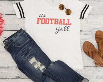 Football Y'all Tee White..Gameday Tee..Printed Tailgating Tee..Preppy Game Day Tee..White Football Shirt..Varsity Stripes