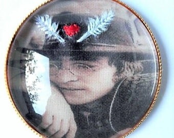 John Lennon hand embroidered brooch