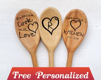 Easter gift grandma etsy personalized wood spoon for grandma gift grandmas kitchen nana gift for grandparents pregnancy announcement cook with negle Gallery