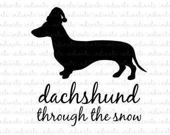 Dachshund Through The Snow Digital File (svg, dxf, png, jpeg)