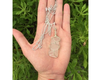 Macrame Style Clear Seaglasss Pendant