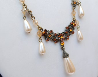 Set vintage - party set - woman - necklace earrings - vintage costume jewelry - 90s