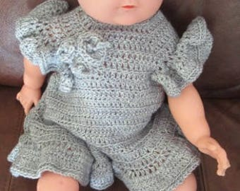 Baby girls woollen grey, hand crochetted dress, cap, hat berry, and socks with decoration for 0-3 months old