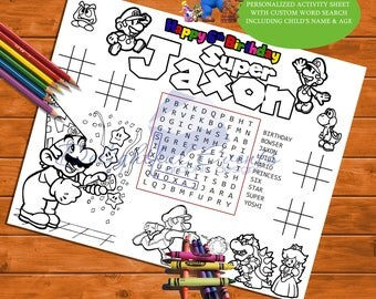 Super Mario Bros. Birthday Personalized Activity and Coloring Sheet