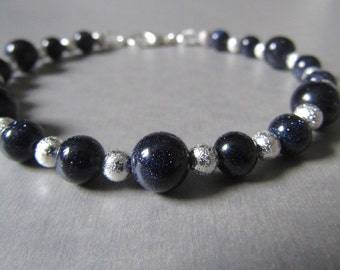 Semi Precious Blue Moon Stone & Silver Stardust Bead Bracelet Sparky and Stunning!!
