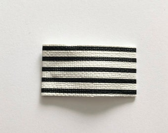 Black and white stripe faux leather snap clip/ striped snap clip/ faux leather snap clip