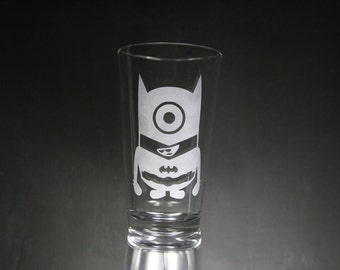 Minions Etched Glass, Minion Batman, Personalized Gift, Custom Gift.